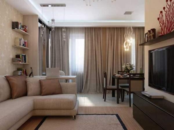Дизайн однокомнатной квартиры 35 кв м - гостиная с кухней и столовой