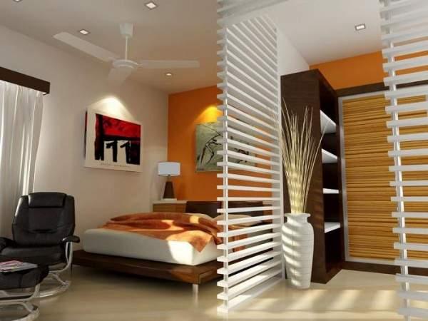 Дизайн однокомнатной квартиры - как отделить спальню перегородкой