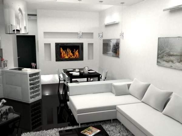 Однокомнатный интерьер в черном и белом цветах - фото квартиры студии