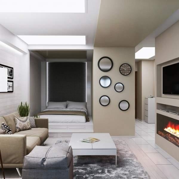 Дизайн интерьера однокомнатной квартиры со спальной зоной