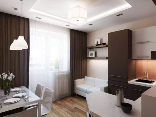 Дизайн маленькой однокомнатной квартиры: кухня в зале и отдельная спальня