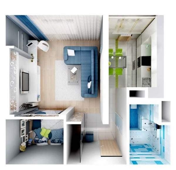 Дизайн проект однокомнатной квартиры с маленькой спальней
