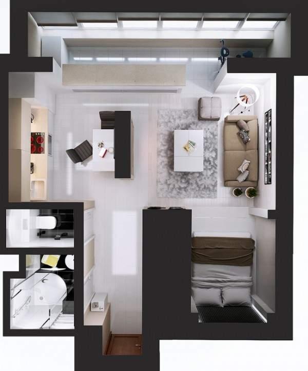 Дизайн проект однокомнатной квартиры студии - как разделить спальню и зал