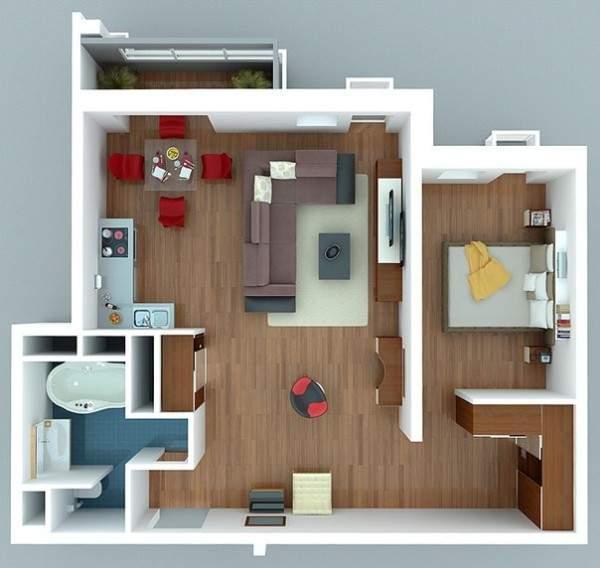 Дизайн проект однокомнатной квартиры студии в современном стиле