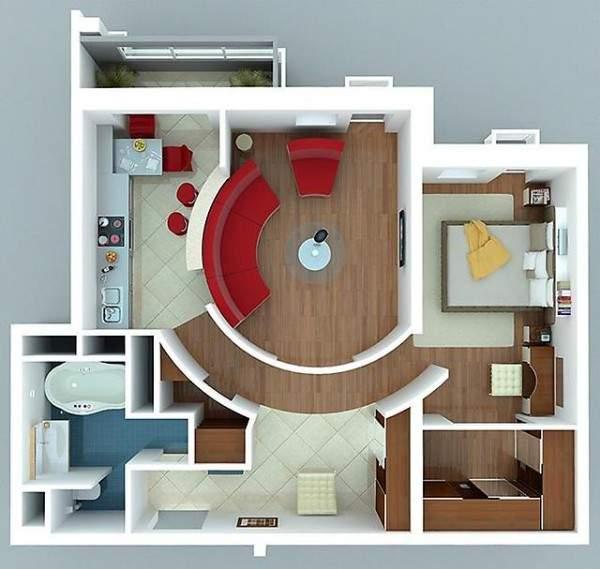 Дизайн проект однокомнатной квартиры с отдельной спальней