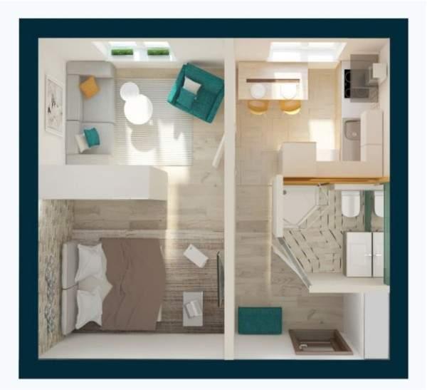 Дизайн проект однокомнатной квартиры квадратной планировки