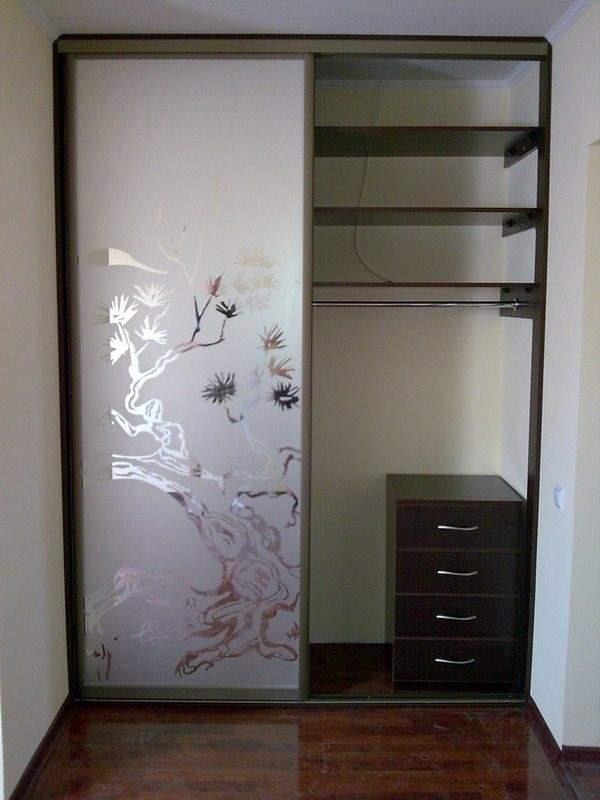 Стеклянные матовые двери для встроенного шкафа купе с рисунком