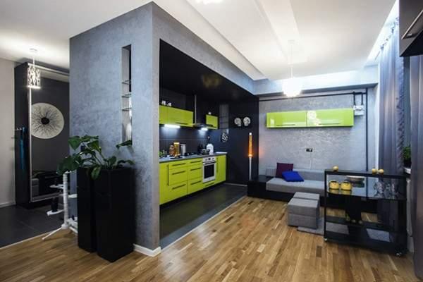 Дизайн интерьера однокомнатной квартиры с совмещенной кухней