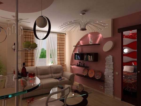 Дизайн однокомнатной квартиры с барной стойкой между кухней и гостиной
