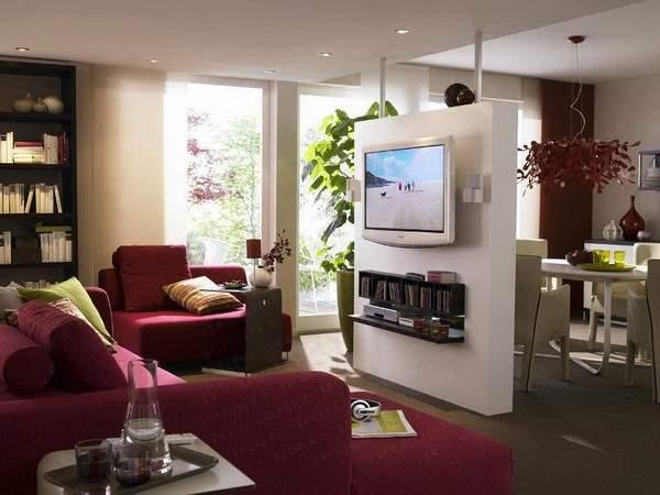 Дизайн однокомнатной квартиры - разделить на две зоны перегородкой с ТВ