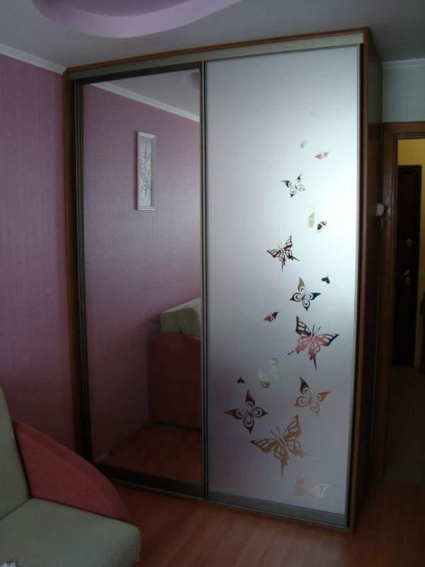 Стеклянные двери для встроенного шкафа купе с зеркалом
