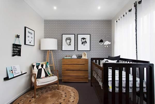 Детская комната в черно-белом цвете