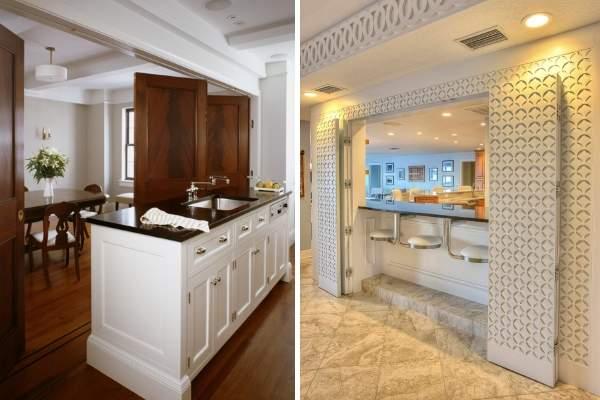 Красивая дверь гармошка на кухню - фото вариантов в интерьере