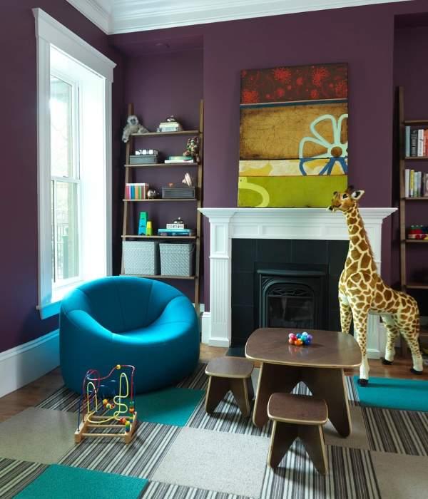 Сиреневый и голубой цвета для детской комнаты для мальчика