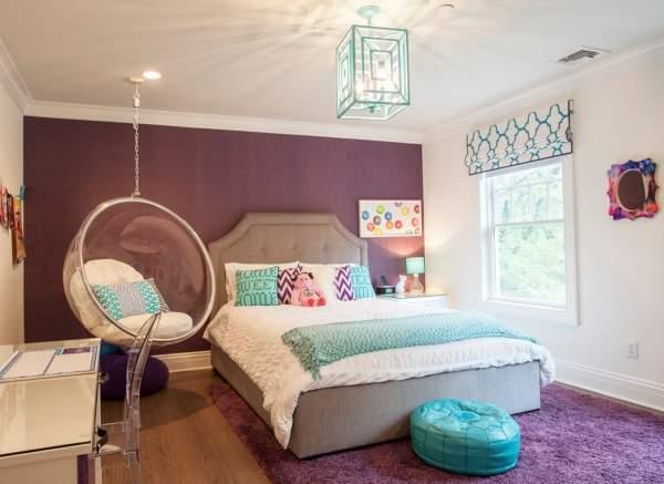 Детская комната в сиреневом цвете с голубым - фото