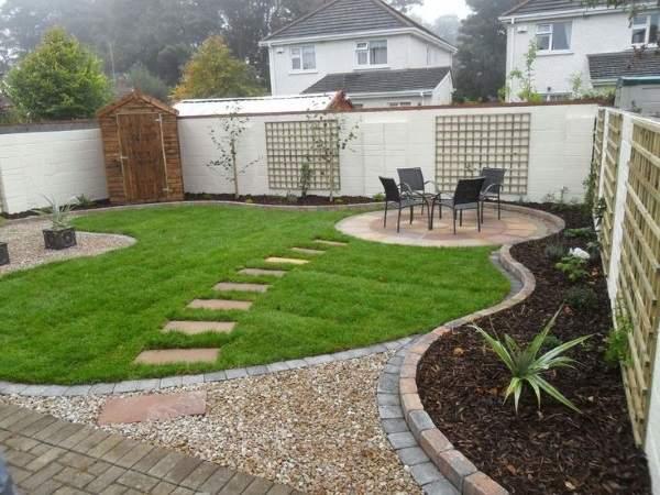 Дизайн проект маленького двора частного дома - фото необычной планировки