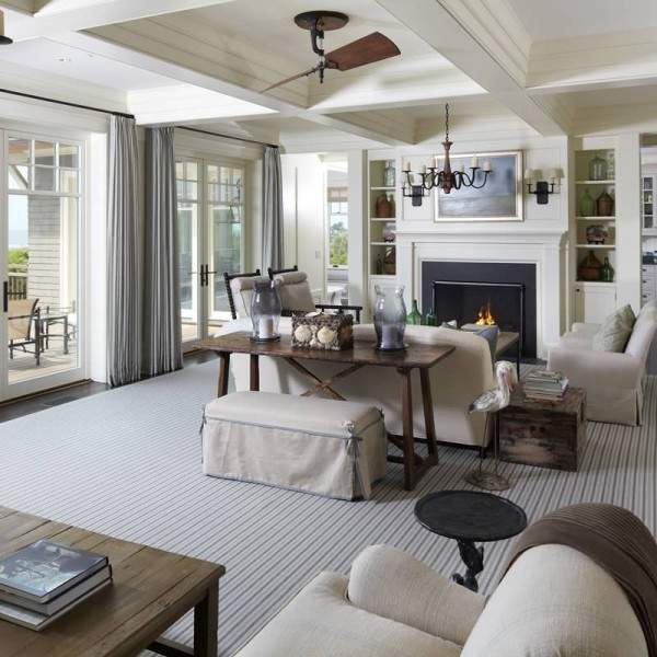 Дизайн гостиной с камином в частном доме - фото интерьера