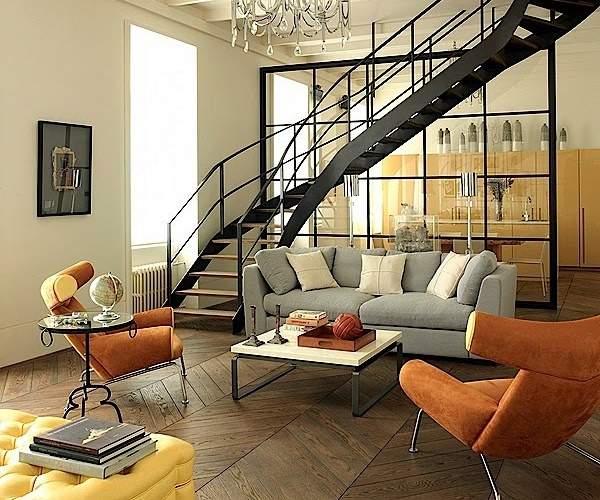 Современный дизайн кухни гостиной с лестницей в частном доме