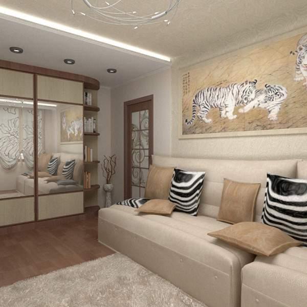 Дизайн зала в квартире хрущевке - фото в современном стиле