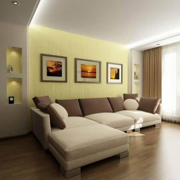 Современный дизайн зала в хрущевке в стиле минимализм