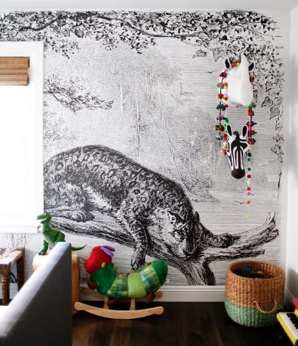 Черно-белый цвет стен в детской комнате - фото