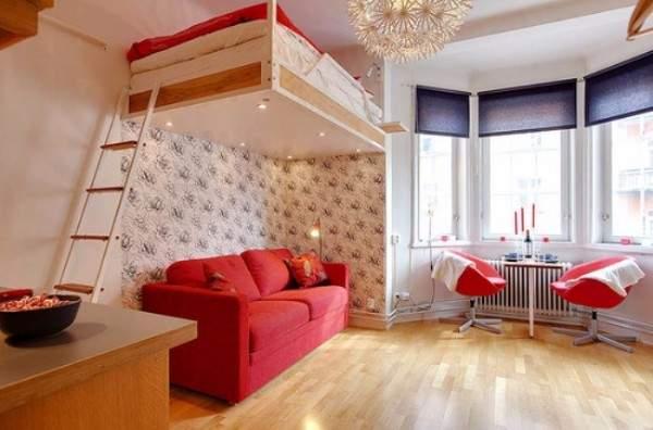 Дизайн квартиры студии 20 кв м с кроватью чердаком