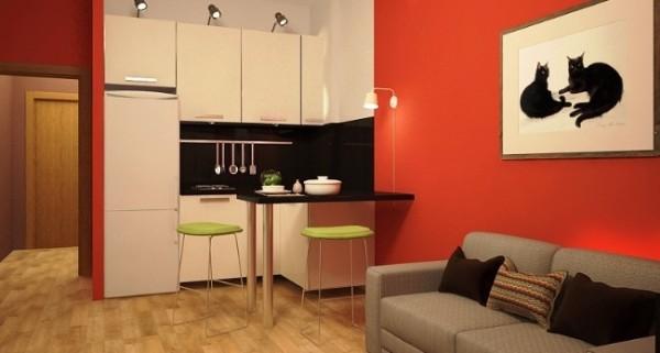 Современный дизайн квартиры студии 25 кв м - фото кухни гостиной