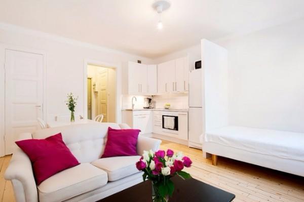 Красивый дизайн квартиры студии 30 кв м в белом цвете