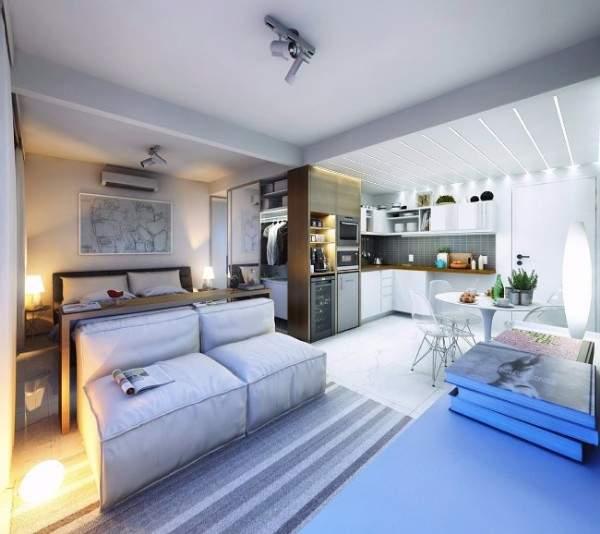 Идеи дизайна квартир студий 30 кв м - фото гостиной, спальни и кухни