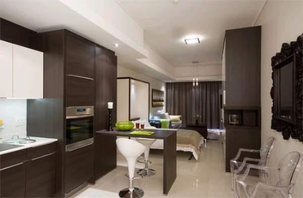 Идеи для квартиры студии - барная стойка между кухней и гостиной