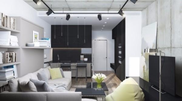 Стильный дизайн квартиры студии 30 кв м в стиле лофт