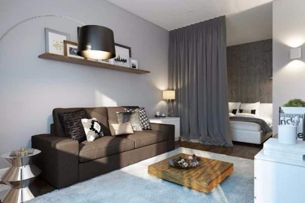 Идеи дизайна квартир студий - вариант разделения спальни и гостиной