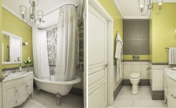 Идеи дизайна квартир студий 40 кв м - фото санузла в классическом стиле