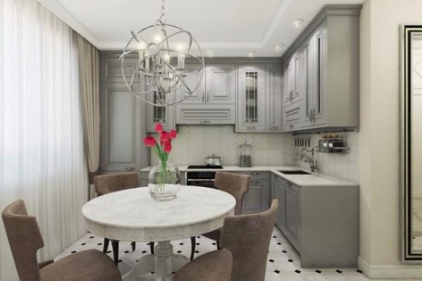 Дизайн кухни квартиры студии 40 кв м в классическом стиле