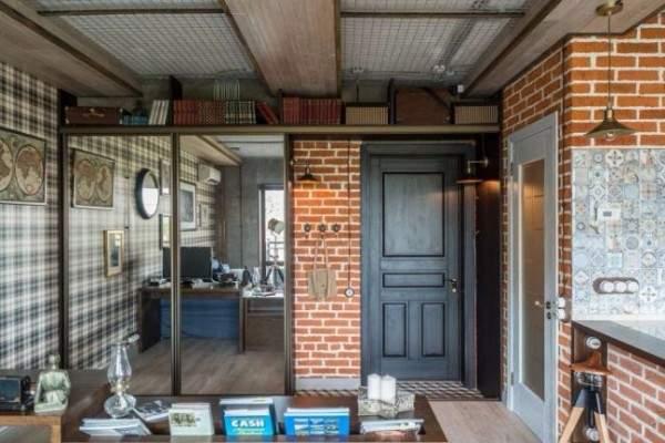 Идеи для квартиры студии в стиле лофт- фото прихожей гостиной