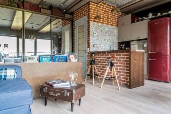 Дизайн квартиры студии 40 кв м в стиле лофт - фото кухни гостиной