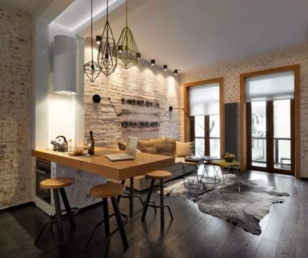 Дизайн квартиры студии с кирпичной стеной