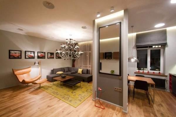 Стильный дизайн квартиры студии квадратной планировки - фото 2017
