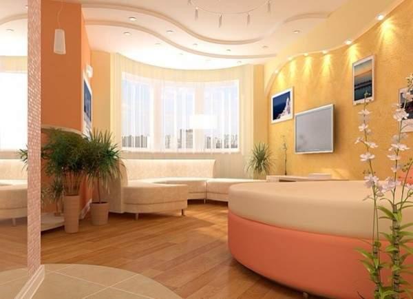 Дизайн проект квартиры студии квадратной планировки в ярких тонах
