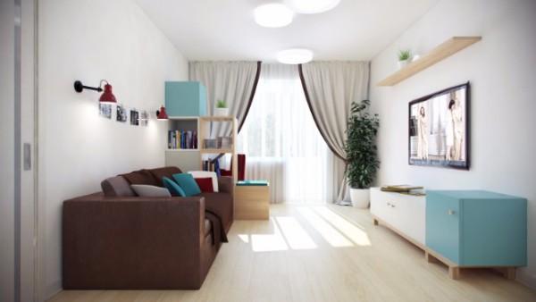 Дизайн квартиры студии квадратной планировки - фото гостиной