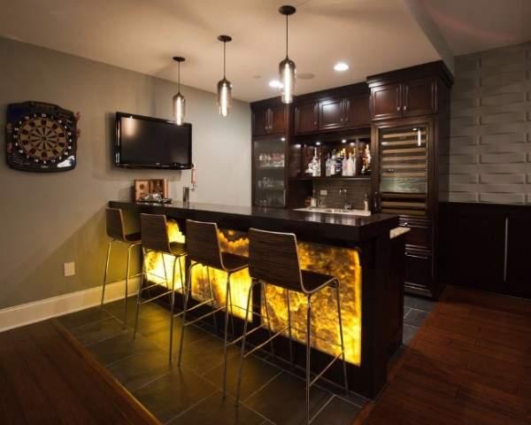 Дизайн квартиры студии квадратной планировки с барной стойкой