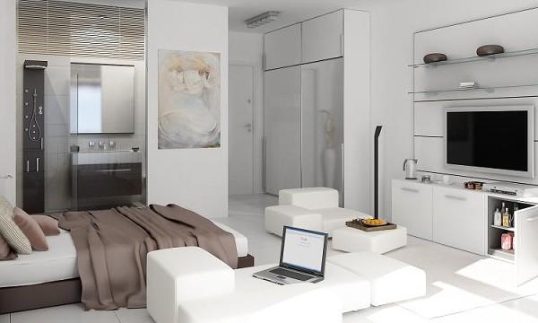 Дизайн квартиры студии 25 кв м в белом цвете и светлых тонах