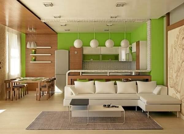 Дизайн проект квартиры студии 25 кв м в белом, зеленом и коричневом тонах