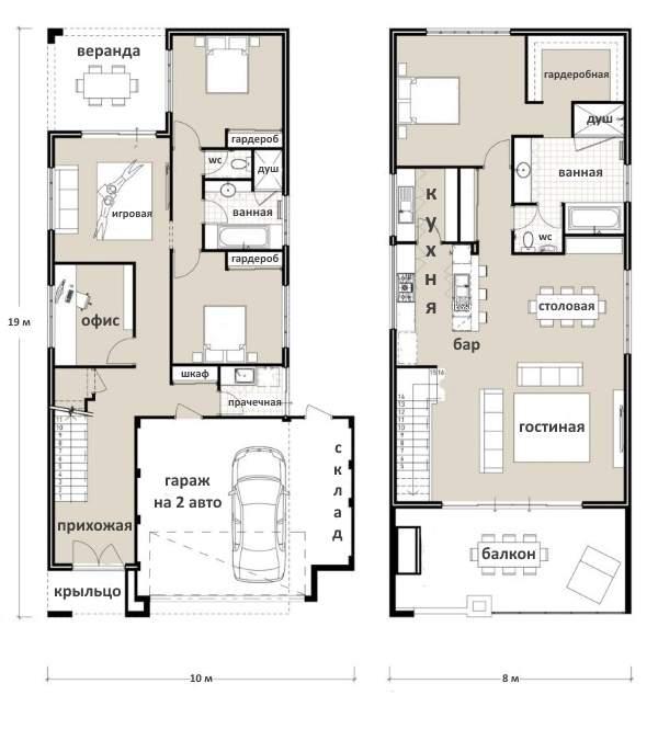 Варианты вторых этажей в частном доме - проект с кухней гостиной и одной спальней