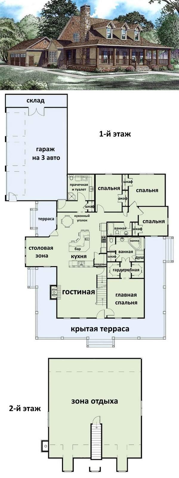 Планировка и фото второго этажа в частном доме