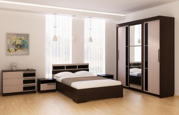 Современный дизайн шкафов купе в спальню - два цвета и зеркало
