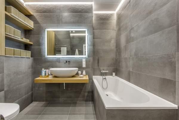 Красивая ванная комната - фото дизайн в стиле хай тек