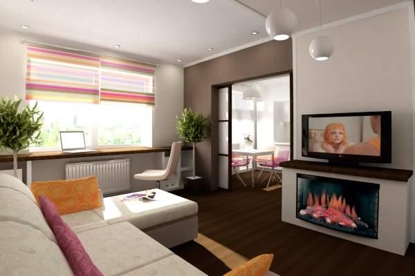 Дизайн зала в квартире с камином и видом на кухню