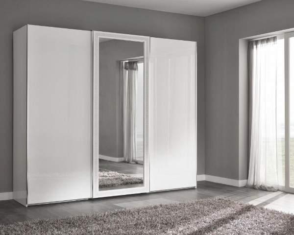 Идеи шкафа купе в спальне в белом цвете с зеркалом