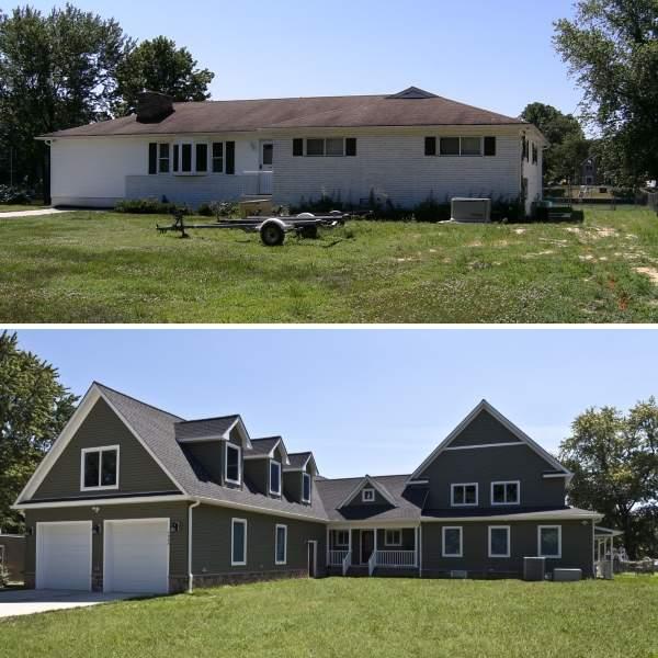 Надстройка второго этажа в частном доме - фото фасада до и после